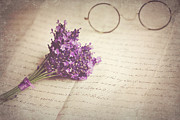 Communication Photos - Glasses And Posy Of Lavender On Peaper by Doug Chinnery