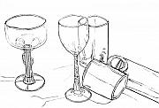 Coffee Mug Drawings Prints - Glasses Print by Jean Haynes
