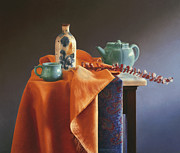 Ceramic Glazes Metal Prints - Glazed with Light Metal Print by Barbara Groff