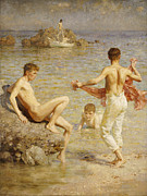 Sitting On Rock Prints - Gleaming Waters Print by Henry Scott Tuke