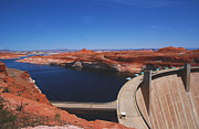 Deep Blue River Prints - Glen Canyon Dam at Lake Powell by Page Arizona Print by Susanne Van Hulst