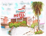 Cards Vintage Painting Prints - Glendale-Motel-in-Glendale-California Print by Carlos G Groppa