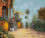 Summer Vacation Painting Framed Prints - Gli Otri Sul Terrazzo Framed Print by Guido Borelli