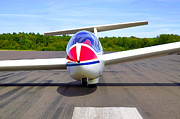 Glider On A Runway Print by Richard Thomas