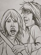 Mick Jagger Drawings - Glimmer Twins by Pete Maier