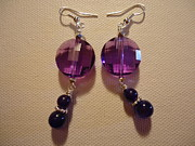 Silver Earrings Jewelry Metal Prints - Glitter Me Purple Earrings Metal Print by Jenna Green