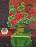 Red Geraniums Prints - Global Beauty Print by Margaret Harmon