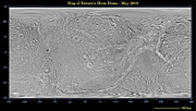 Grooves Posters - Global Map Of Saturns Moon Dione Poster by Stocktrek Images