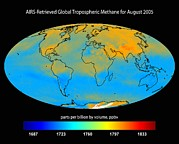 Planet Map Prints - Global Tropospheric Methane, 2005 Print by Nasajpl