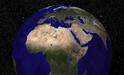 Planet Map Prints - Global View Of Earth Over North Africa Print by Stocktrek Images