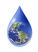 Rain Drop Posters - Global Water Supply, Conceptual Image Poster by Victor De Schwanberg
