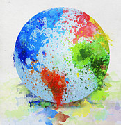 Fun Map Prints - Globe Painting Print by Setsiri Silapasuwanchai