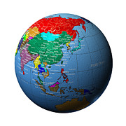 Cartography Photos - Globe Showing  Asia by Cartesia/Photodisc