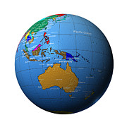 Cartography Photos - Globe Showing Australia, Indonesia And Melanesia by Cartesia/Photodisc