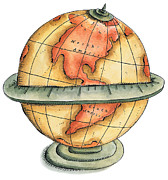 Cartography Digital Art - Globe Showing Western Hemisphere by Jennifer Thermes