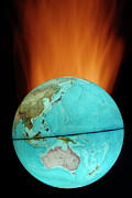 Cartography Photos - Globe with flames by Sami Sarkis