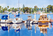 Yacht Paintings - Glorietta Bay Marina by Mary Helmreich