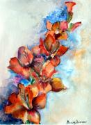 Gladiola Drawings - Glorify by Mindy Newman