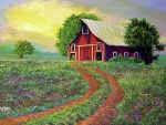 Acrylics Painting Prints - Glorious Day On The Farm Print by Lee Nixon