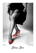 Nudes Photo Acrylic Prints - Glorious Gams - Red Shoes Acrylic Print by Jerry Taliaferro