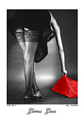 Nudes Photo Metal Prints - Glorious Gams - Seeing Red Metal Print by Jerry Taliaferro