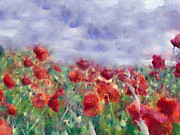 Red Mixed Media Posters - Glorious Poppy Field Poster by Zeana Romanovna