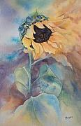 Water-colour Framed Prints - Glorious Sunflower Framed Print by Kate Bedell