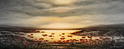 Sunset Prints Mixed Media Posters - Glory - Panoramic Sunset 2 Poster by Gina De Gorna