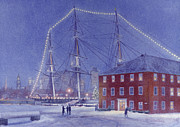 Uss Constitution Paintings - Glory at Eventide by Candace Lovely