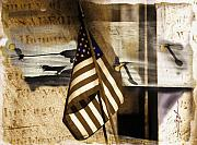Us Flag Mixed Media Prints - Glory Print by Bob Salo