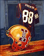 Football Paintings - Glory Days or Guys Football Jersey and Helmet by Sheri Parris