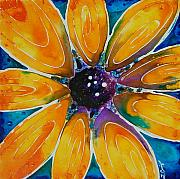 Orange Flowers Posters - Glory Poster by Sharon Cummings