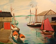 Seagull Drawings Originals - Gloucester Harbor - Mackerel Seiners 1933 by Bill Hubbard