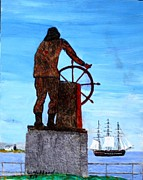 Constitution Paintings - Gloucester Harbor - US Frigate Constitution and Man at the Wheel by Bill Hubbard