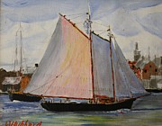 Tall Ship Drawings Prints - Gloucester Harbor Print by Bill Hubbard