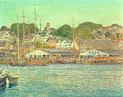 Boats On Water Framed Prints - Gloucester Harbor Framed Print by Childe Hassam