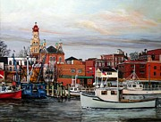 City Hall Painting Framed Prints - Gloucester Harbor Framed Print by Eileen Patten Oliver