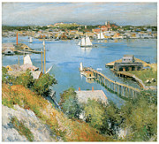 American Artist Paintings - Gloucester Harbor by Willard Leroy Metcalf