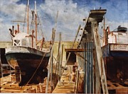 Tall Ships. Marine Art Paintings - Gloucester Marine Railway by Phil Cusumano