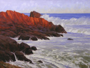 Rocky Shoreline Paintings - Gloucester Surf by Cody DeLong