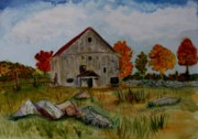 Vermont Paintings - Glover Barn in Autumn by Donna Walsh