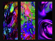 Color Purple Digital Art Framed Prints - Glow And Flow triptych Framed Print by Terril Heilman
