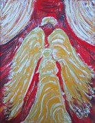 Yellow Reliefs Posters - Glow Angel Poster by Cecile Smit