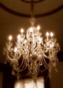 Chandelier Framed Prints - Glow from the Past Framed Print by Karen Wiles