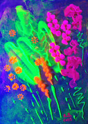 Flowers Reliefs Prints - Glow Wildflowers Print by Ruth Collis
