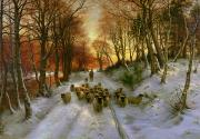 Winter Scenes Painting Metal Prints - Glowed with Tints of Evening Hours Metal Print by Joseph Farquharson