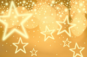 Christmas Star Posters - Glowing Background With Stars, Studio Shot Poster by Tetra Images