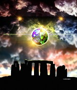 Ufology Framed Prints - Glowing Ball Ufo Over Stonehenge Framed Print by Victor Habbick Visions