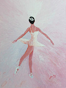 Dancer Paintings - Glowing Ballerina original palette knife  by Georgeta  Blanaru
