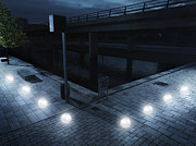 Video Game Life Prints - Glowing Balls Floating In Urban Scenery Print by Henrik Sorensen
